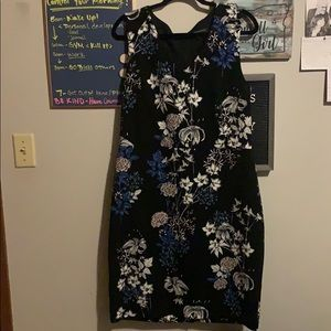 White pink and blue floral black dress